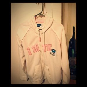 Freeze I bite white and pink hooded jacket